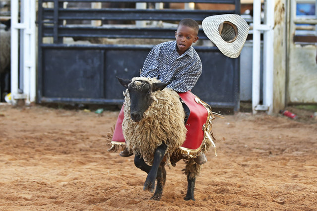 Trenton Whayne, age seven, loses his hat as he competes in the Mutton Bustin competition at the 65th annual Okmulgee Roy LeBlanc Invitational Rodeo, the nation's oldest all-black professional rodeo event, in Okmulgee, Okla., Sunday, August 9, 2020. (Photo by Sue Ogrocki/AP Photo)