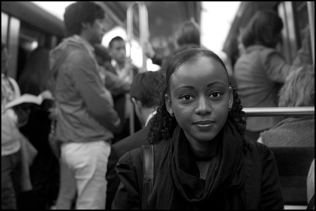 "Denise, Paris Metro, Porte de Vincennes-Defense. Robert Doisneau, the great French photographer who among other things worked for awhile with the magazine Vogue, once said to me, ""Peter, of course models are beautiful, but the people that move my heart with their beauty are the people I see going to work every day on the metro"". I share Robert's feelings. (Photo and comment by Peter Turnley)"