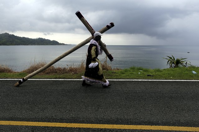 A worshipper of the Black Christ of Portobelo carries a cross during the annual celebratory pilgrimage in Portobelo, in the province of Colon October 21, 2015. (Photo by Carlos Jasso/Reuters)