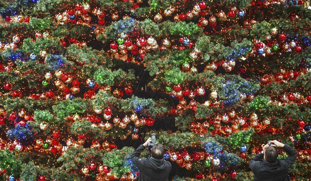 Two people take pictures of a Christmas tree at the Marlene-Dietrich-Platz in Berlin November 27, 2014. (Photo by Hannibal Hanschke/Reuters)