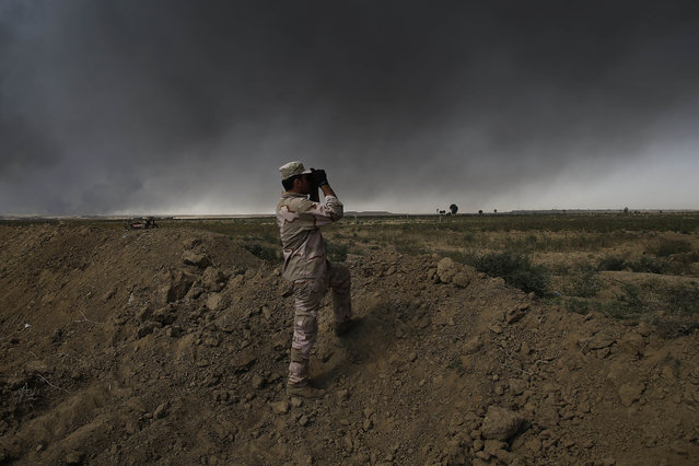 An Iraqi army member looks toward Islamic State group territory outside Qayyarah on Tuesday October 4, 2016.  Qayyarah has become an important staging ground for military and humanitarian efforts ahead of the Mosul operation. (Photo by Bram Janssen/AP Photo)