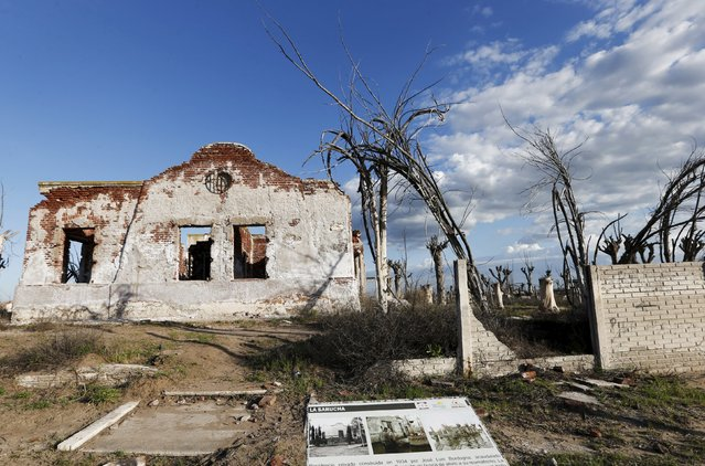A picture taken in the 70s compares the place with the current state of a ruined house in the onetime spa and resort town Epecuen, November 5, 2015. (Photo by Enrique Marcarian/Reuters)
