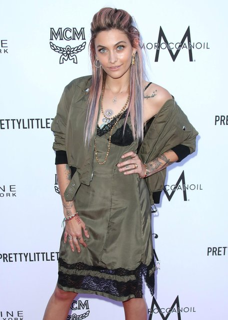 Paris Jackson arrives at the Daily Front Row's Fashion Los Angeles Awards at the Beverly Hills Hotel on Sunday, April 8, 2018, in Beverly Hills, Calif. (Photo by Splash News and Pictures)