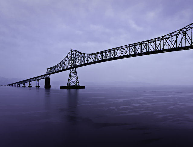 """Astoria-Megler-Bridge"". The Astoria-Megler Bridge spans the mouth of the Columbia River between Astoria, Oregon and Megler, Washington. Is the longest continuous truss bridge in North America. (Photo and caption by Kay Gaensler/National Geographic Traveler Photo Contest)"