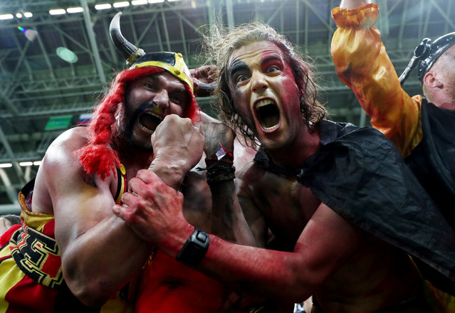 Belgium fans celebrate after the Russia 2018 World Cup quarter- final football match between Brazil and Belgium at the Kazan Arena in Kazan on July 6, 2018. (Photo by Sergio Perez/Reuters)