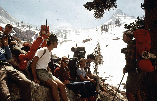 Hikers from Explorer Post 397 of Los Angeles take a break during a hike on Mineral Peak, Nevada, in May of 1972. (Photo by Dick Rowan/NARA via The Atlantic)