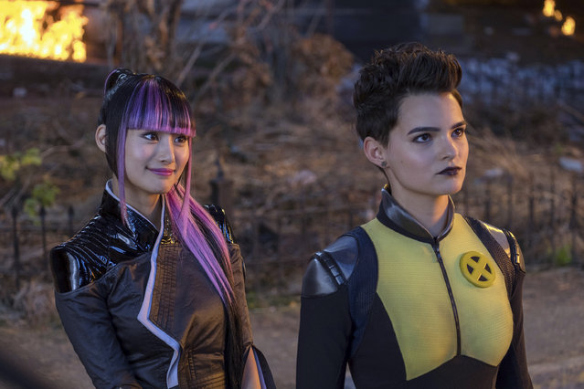 "This image released by Twentieth Century Fox shows Shioli Kutsuna, left, and Brianna Hildebrand in a scene from ""Deadpool 2"". (Photo by Joe Lederer/Twentieth Century Fox via AP Photo)"