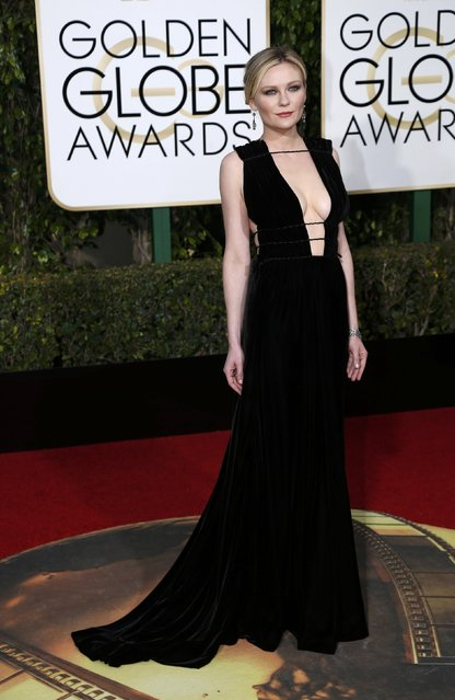 Actress Kirsten Dunst arrives at the 73rd Golden Globe Awards in Beverly Hills, California January 10, 2016. (Photo by Mario Anzuoni/Reuters)