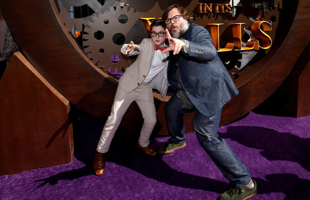 "Actors Jack Black and Owen Vaccaro pose at the premiere for ""The House With a Clock in its Walls"" in Los Angeles, California, U.S., August 16, 2018. (Photo by Mario Anzuoni/Reuters)"