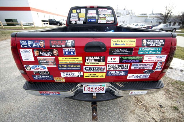 Bumper sticker are affixed on the tailgate of an attendee at a campaign stop by Republican presidential candidate Sen. Ted Cruz, R-Texas, Tuesday, January 12, 2016, at Granite State Indoor Range in Hudson, N.H. (Photo by Matt Rourke/AP Photo)