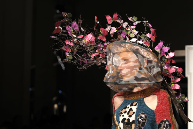 A model wears a creation as part of the Marras women's 2019 Spring-Summer collection, unveiled during the Fashion Week in Milan, Italy, Friday, September 21, 2018. (Photo by Antonio Calanni/AP Photo)