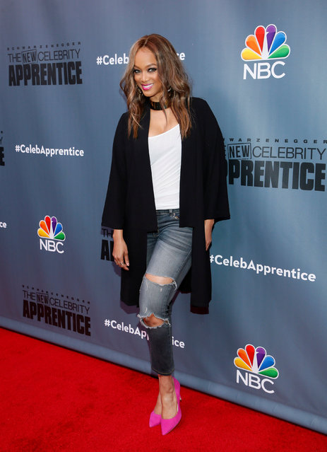 """Cast member Tyra Banks poses after a panel for """"The New Celebrity Apprentice"""" in Universal City, California, December 9, 2016. (Photo by Danny Moloshok/Reuters)"""
