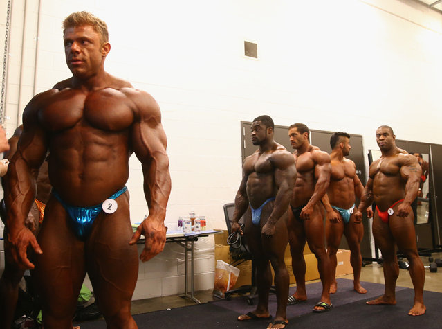 Competitors prepare backstage prior to the Arnold Classic Australia at The Melbourne Convention and Exhibition Centre on March 14, 2015 in Melbourne, Australia. (Photo by Robert Cianflone/Getty Images)