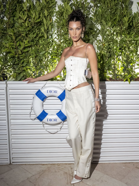 Bella Hadid attends the Dior dinner during the 74th annual Cannes Film Festival on July 10, 2021 in Cannes, France. (Photo by Arnold Jerocki/Getty Images for Dior)