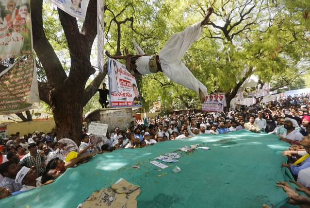 A farmer who hung himself from a tree is seen mid-air after being released by people during a rally organized by Aam Aadmi (Common Man) Party (AAP) in New Delhi April 22, 2015. (Photo by Adnan Abidi/Reuters)