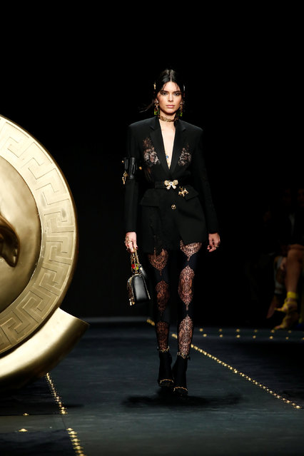 Model Kendall Jenner presents a creation by Versace during the Milan Fashion Week in Milan, Italy February 22, 2019. (Photo by Alessandro Garofalo/Reuters)