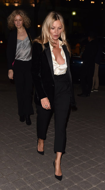 Kate Moss, 45, attends the Saint Laurent show, during Paris Fashion Week Womenswear Fall/Winter 2019/2020, on February 26, 2019 in Paris, France. (Photo by The Mega Agency)