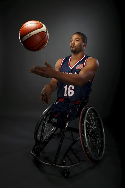 Wheelchair basketball player Trevon Jenifer poses for a portrait at the U.S. Olympic Committee Media Summit in Beverly Hills, Los Angeles, California March 8, 2016. (Photo by Lucy Nicholson/Reuters)