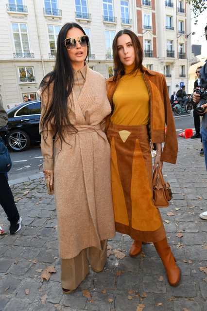 Celebrities seen arriving at Chloe Paris Fashion Week Show Womenswear Spring Summer 2022 in Paris on September 30, 2021. Pictured: Demi Moore and daughter Scout Willis. (Photo by Backgrid USA)