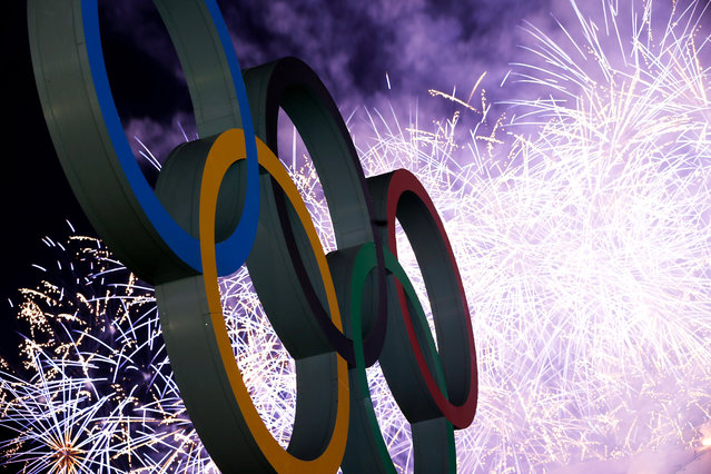 Fireworks on display over the Olympic Park during the Closing Ceremony of the Sochi 2014 Winter Olympics at Fisht Olympic Stadium on February 23, 2014 in Sochi, Russia. (Photo by Scott Halleran/Getty Images)