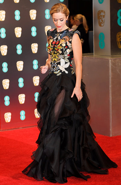 Emily Blunt arrives for the British Academy of Film and Television Awards (BAFTA) at the Royal Albert Hall in London, Britain, February 12, 2017. (Photo by Toby Melville/Reuters)