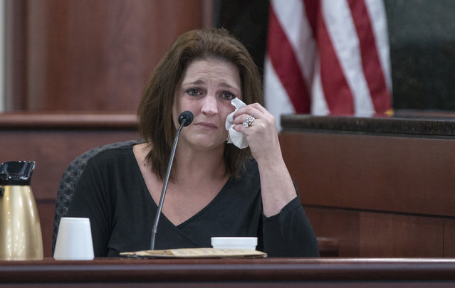 Amber Jones cries from the witness stand while being questioned by 11th Circuit deputy Solicitor Suzanne Mayes during the trial of her ex husband, Tim Jones, Columbia S.C., Monday, May 20, 2019. Timothy Jones, Jr. is accused of killing their 5 young children in 2014. Jones, who faces the death penalty, has pleaded not guilty by reason of insanity. (Photo by Tracy Glantz/The State via AP Photo/Pool)