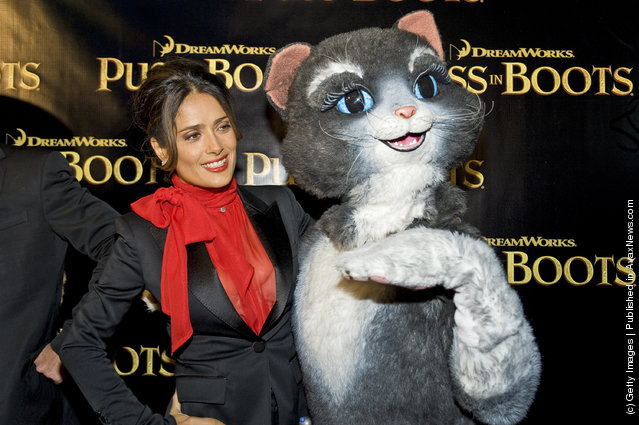 Salma Hayek attend the Puss in Boots