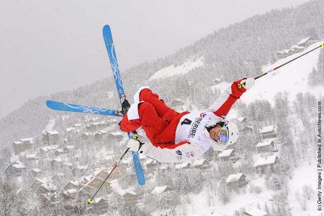 Denis Dolgodvorov of Russia during the FIS Freestyle Ski World Cup Dual Moguls
