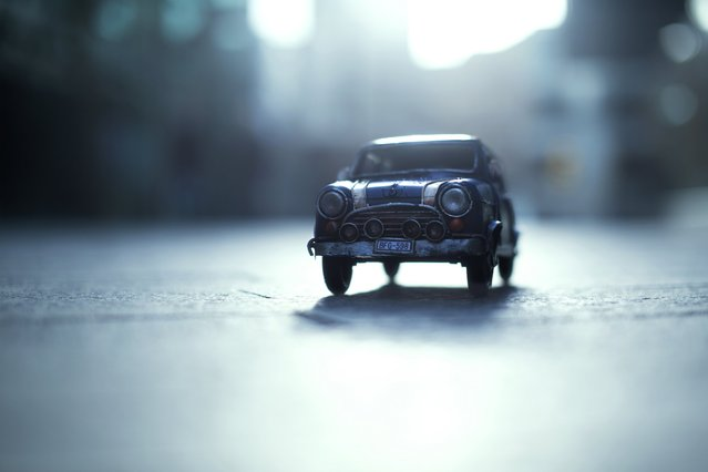 """Ready to Go"", Blue Union Jack Mini Cooper, London, March 2014. (Photo by Kim Leuenberger)"