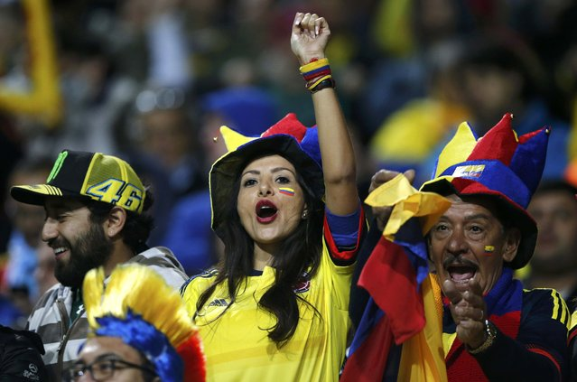 Colombia fans cheer as they await the start of the team's Copa America 2015 quarter-finals soccer match against Argentina at Estadio Sausalito in Vina del Mar, Chile, June 26, 2015. (Photo by Ivan Alvarado/Reuters)