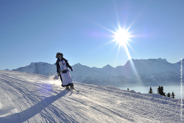 Participants take part in the 30th edition of the Belalp Witches Ski Race
