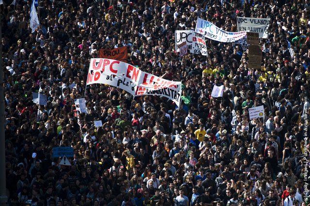 Students protest during a demonstration on February 29, 2012 in Barcelona
