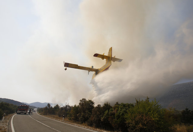 Croatian firefighters work to control a large forest fire in the village of Zabrdje on the Peljesec peninsula in southern Croatia, Friday, July, 24, 2015. Volunteers, military and Croatian firefighters are struggling to cope with raging forest fires on the country's Adriatic coast. The Peljesac peninsula is facing a blaze that has forced hundreds of residents and tourists to evacuate. (Photo by Amel Emric/AP Photo)