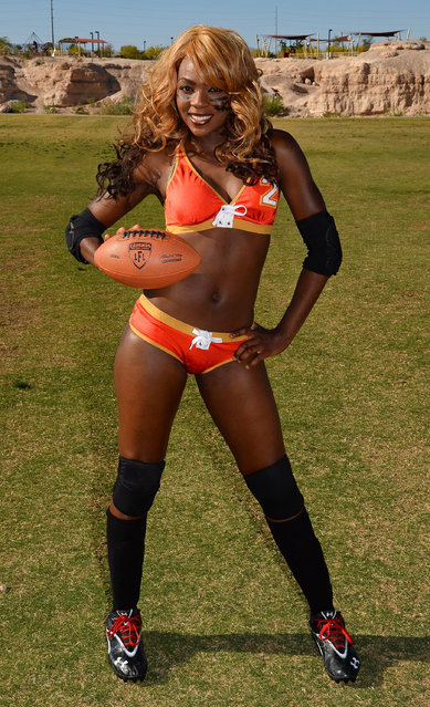 Defensive end/safety/wide receiver LaRonda Kelly #2 poses during media day for the Las Vegas Sin of the Legends Football League at Charlie Frias Park on May 13, 2014 in Las Vegas, Nevada. (Photo by Ethan Miller/Getty Images)