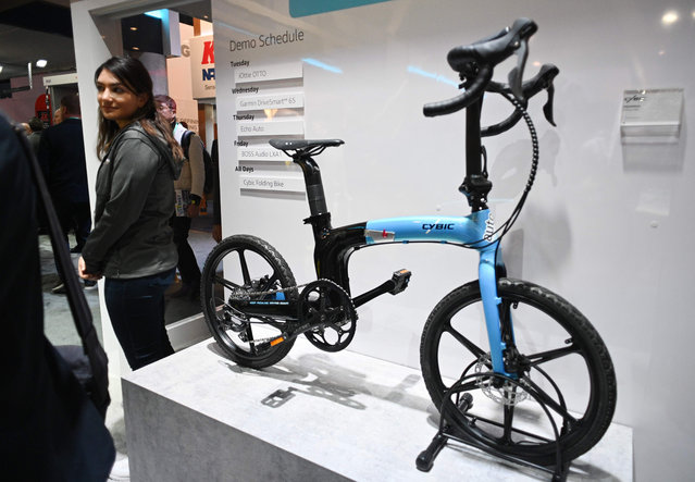 The Cybic Aquarius Folding e-bike with Amazon Alexa built-in is displayed at the Amazon booth, January 7, 2020 at the 2020 Consumer Electronics Show (CES) in Las Vegas, Nevada. (Photo by Robyn Beck/AFP Photo)