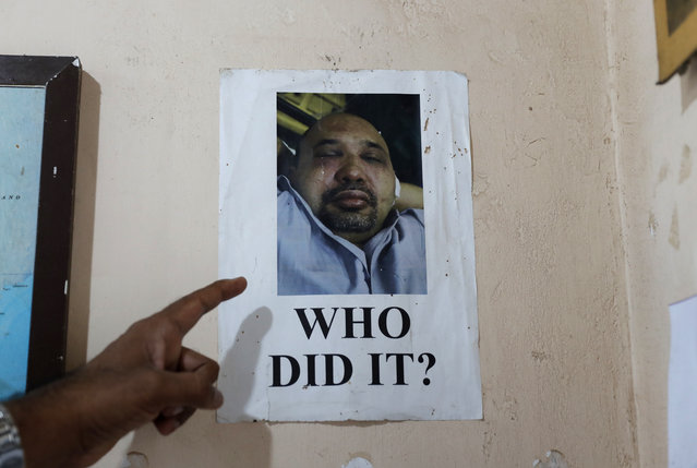 In this November 6, 2019 photo, a portrait of Sri Lankan journalist Keith Noyahr who left the country following an alleged attack by a group of government soldiers is seen pasted on the wall of a human rights activist's office in Colombo, Sri Lanka. Forced to flee their country a decade ago to escape allegedly state-sponsored killer squads, Sri Lankan journalists living in exile doubt they'll be able to return home soon or see justice served to their tormentors – whose alleged ringleader could come to power in this weekend's presidential election. Exiled journalists and media rights groups are expressing disappointment over the current government's failure in punishing the culprits responsible for crimes committed against media members. (Photo by Eranga Jayawardena/AP Photo)