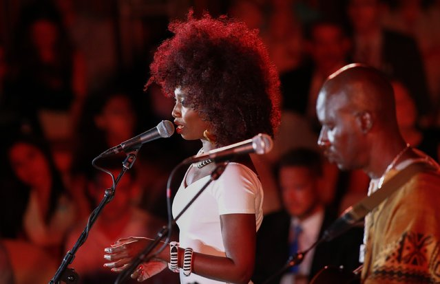 Singer Inna Modja performs during the commemoration of 2015 World Humanitarian Day at the U.N. Headquarters on August 18, 2015 in New York CIty. (Photo by Kena Betancur/Getty Images)