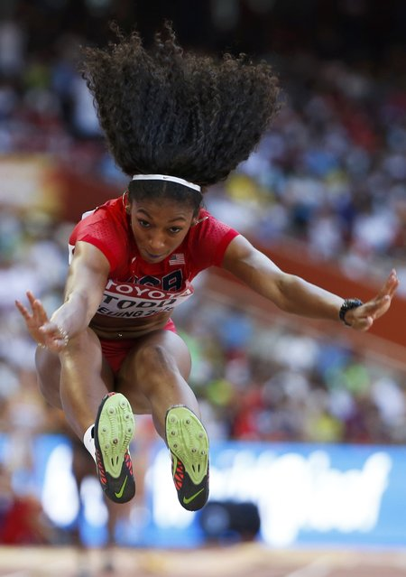 Jasmine Todd of the U.S. competes in the long jump qualification event at the 15th IAAF World Championships at the National Stadium in Beijing, China, August 27, 2015. (Photo by Phil Noble/Reuters)