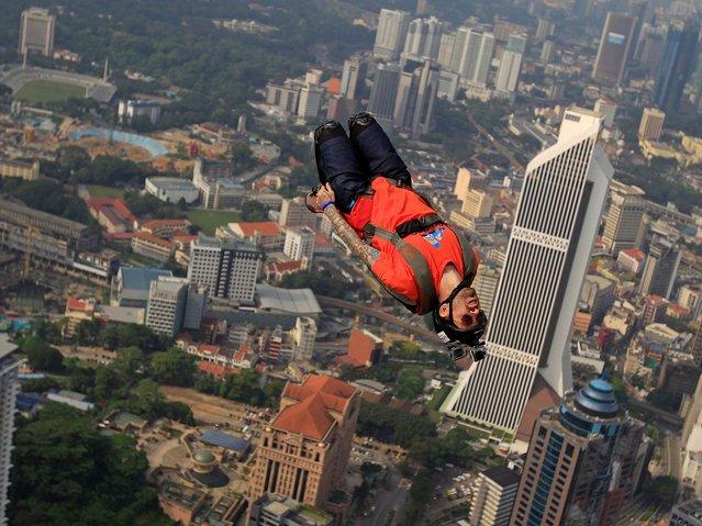 The KL Tower BASE Jump runs until Monday. (Photo by Lai Seng Sin/AP Photo)