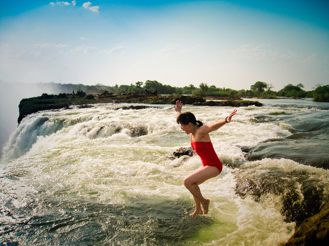 Devil's Pool. One of biggest islands on the crest of the Falls is Livingstone Island, where the explorer David Livingstone first saw the falls in Zambia (he was the one who named the falls after Queen Victoria). (Photo by Mikomiao)