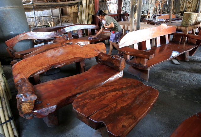 Worker Amy Lizen, 44, uses a wet cloth to clean their export furniture made of acacia and mahogany wood inside a shop in Cavite city, south of Manila, Philippines July 12, 2016. (Photo by Romeo Ranoco/Reuters)
