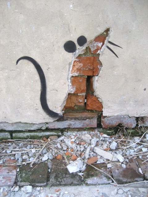 Banksy Rat Plaster, New Orleans. (Photo by Infrogmation of New Orleans)