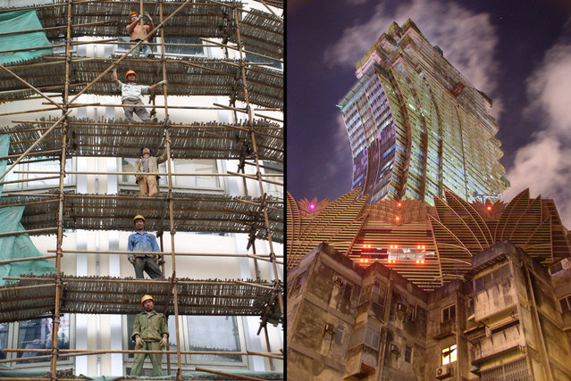 Left: Construction workers on bamboo scaffolding in ever-developing Shanghai. Right: The old and the new of Macau's developing skyline. (Photo by Tom Carter/The Atlantic)