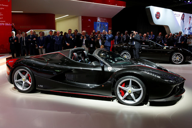The new Ferrari LaFerrari Aperta is displayed on media day at the Paris auto show in Paris, France, September 29, 2016. (Photo by Benoit Tessier/Reuters)