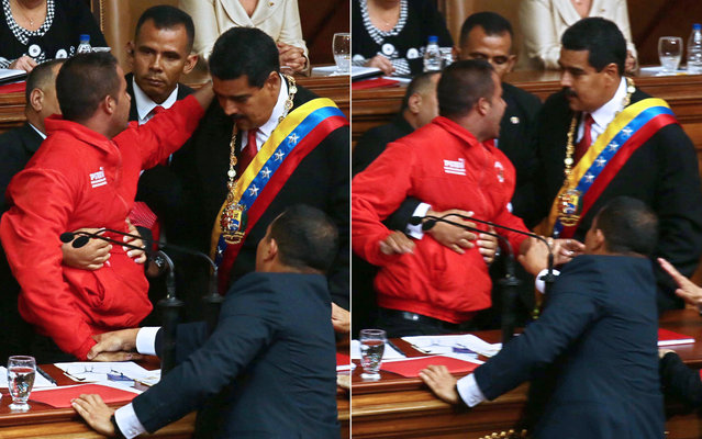 """The swearing in of Nicolas Maduro as Venezuela's new president was interrupted by a man who ran on stage and grabbed the microphone during the inauguration ceremony in Caracas, on April 19, 2013. The man, who tried to appeal for the president's help, was quickly tackled by bodyguards. The lapse in security was perhaps embarrassing for Maduro, with leaders and dignitaries from around the world attending the event, such as Iran's president Mahmoud Ahmadinejad. Returning to his speech after the incident, Maduro said: """"Security has failed totally. I could easily have been shot. And a comrade, however many ideas he may have, must understand that this is an event that has rules that should be respected"""". (Photo by Francisco Boza/AFP Photo)"""