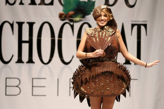 A model presents a creation made with chocolate by professional designers and pastry chefs during the Chocolate Fashion Show at the Salon Du Chocolat in Beirut, Lebanon November 12, 2015. (Photo by Jamal Saidi/Reuters)