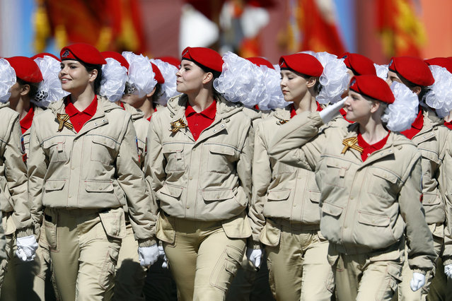 Russian cadets march during the Victory Day military parade to celebrate 73 years since the end of WWII and the defeat of Nazi Germany, in Moscow, Russia, Wednesday, May 9, 2018. (Photo by Pavel Golovkin/AP Photo)