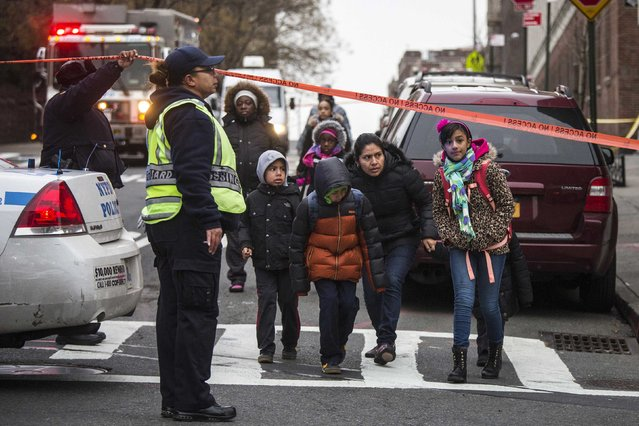 Caretakers escort school children past a police cordon at the site of a shooting in the Bronx borough of New York January 6, 2015. Two New York City plainclothes policemen were shot and wounded while responding to an armed robbery on Monday night, officials said. Unlike the attack two weeks ago in which two uniformed policemen were shot dead as they sat in their patrol car. (Photo by Adrees Latif/Reuters)
