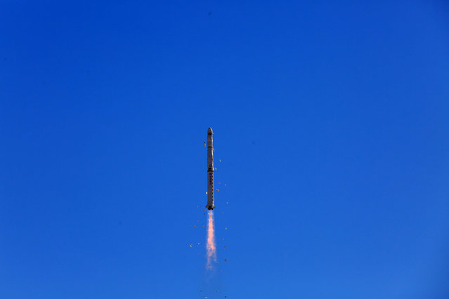The long march 4C carrier rocket launched the remote sensing 31 02 satellite into orbit at Jiuquan Satellite Launch Center. Jiuquan City, Gansu Province, China, January 29, 2021. (Photo by Costfoto/Barcroft Media via Getty Images)