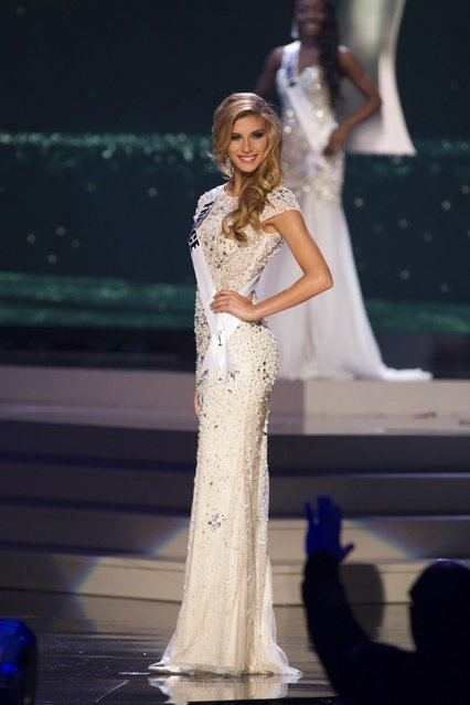 Camille Cerf, Miss France 2014 competes on stage in her evening gown during the Miss Universe Preliminary Show in Miami, Florida in this January 21, 2015 handout photo. (Photo by Reuters/Miss Universe Organization)